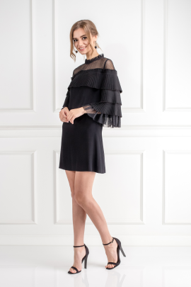 Black Pierre Tulle Pleated Dress-2