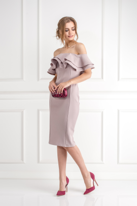 Textured Double Ruffle Dress -1