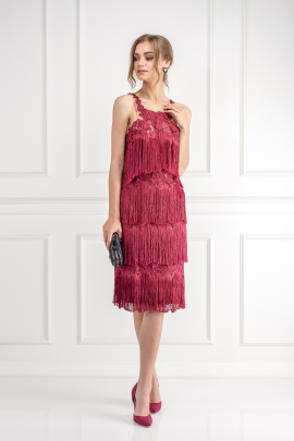 Fringed Embroidered Burgundy Dress / VILNIUS-1