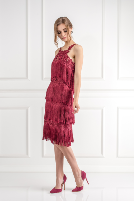 Fringed Embroidered Burgundy Dress / VILNIUS-2