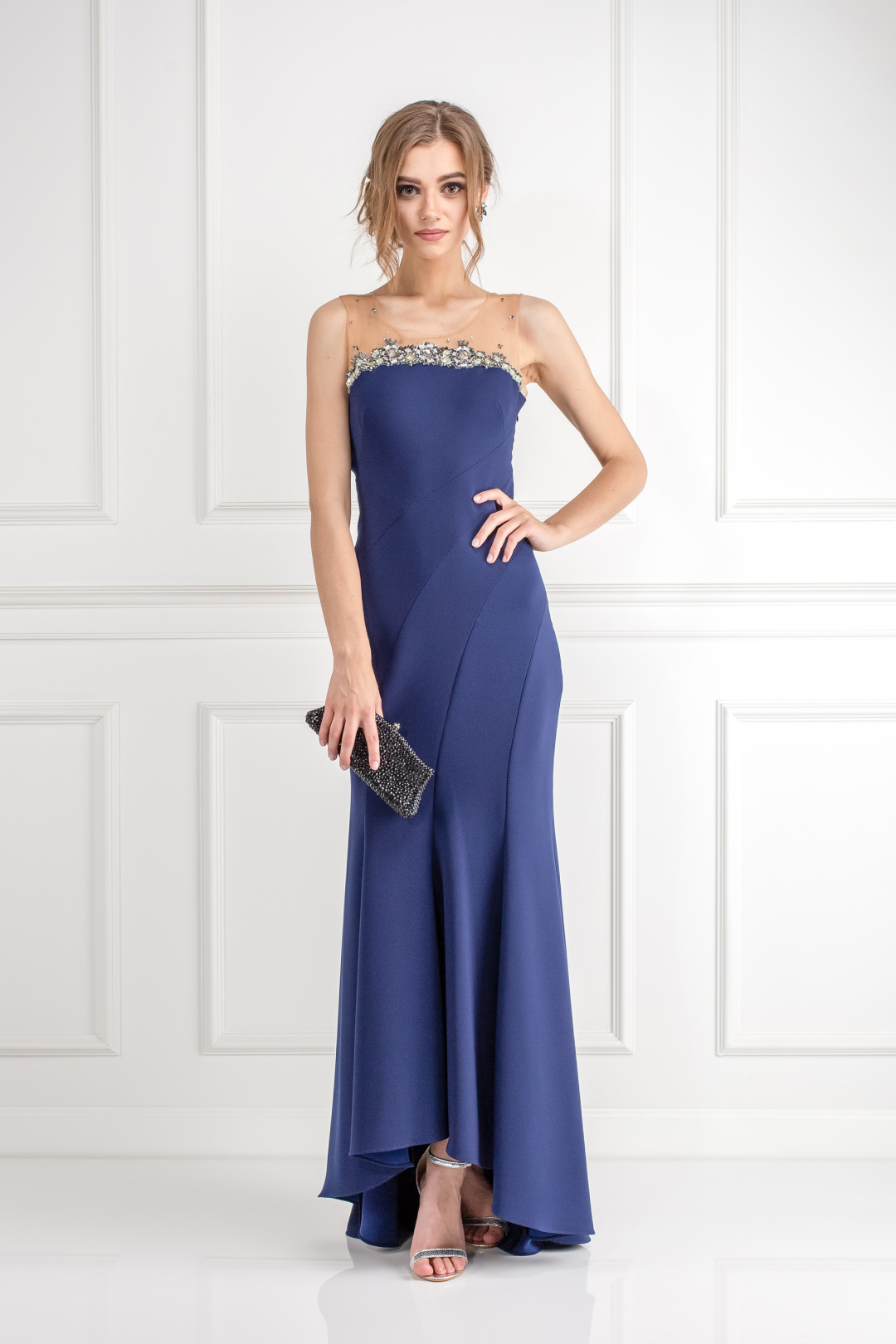 Navy Bead Embelished Gown