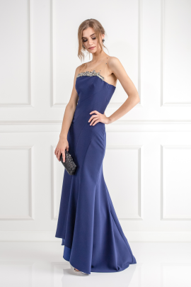 Navy Bead Embelished Gown-2