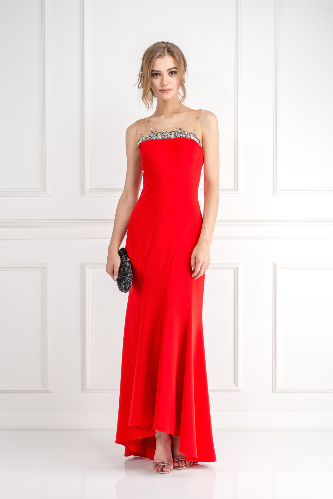 Crimson Bead Embelished Gown