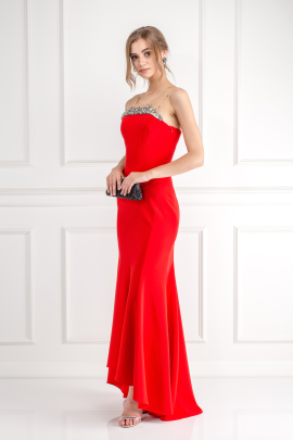 Crimson Bead Embelished Gown-3