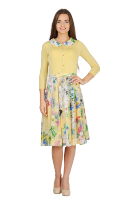 Yellow Long-sleeved Dress-0