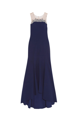 Navy Bead Embelished Gown-0