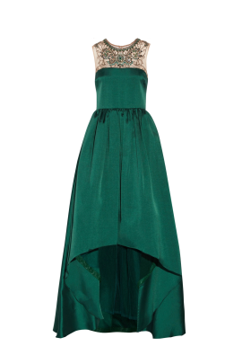 Emerald Satin-twill Gown-1