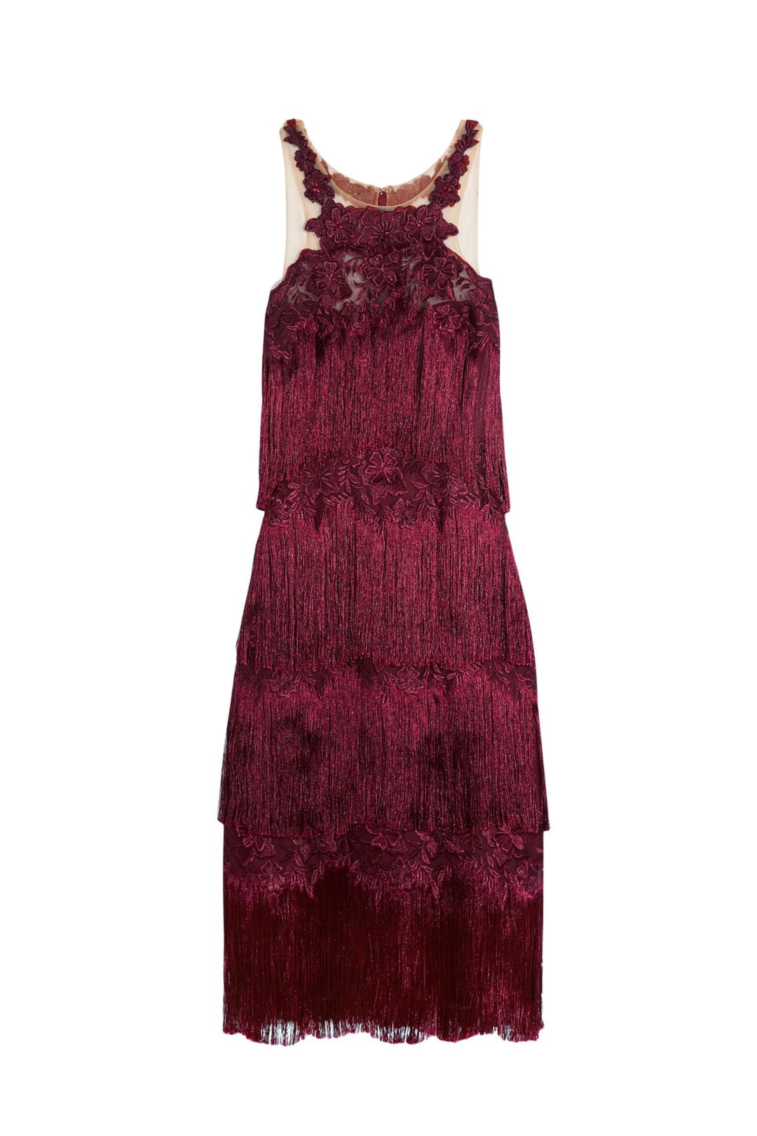 Fringed Embroidered Burgundy Dress