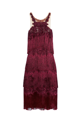 Fringed Embroidered Burgundy Dress-2