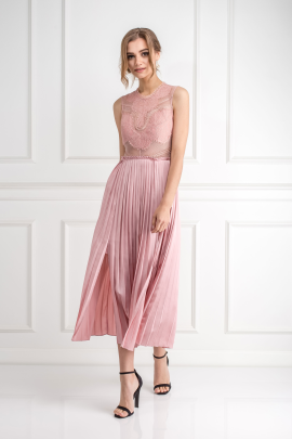 Pink Plated Skirt Dress-1
