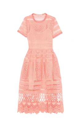 Alanna Peach Lace Dress-1