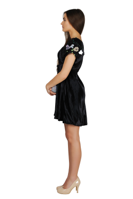 Sleeve-decorated Velvet Dress-1