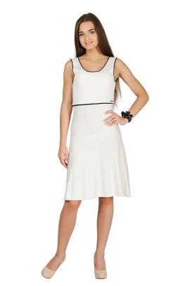 White Bow Knitted Dress-0