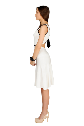 White Bow Knitted Dress-1