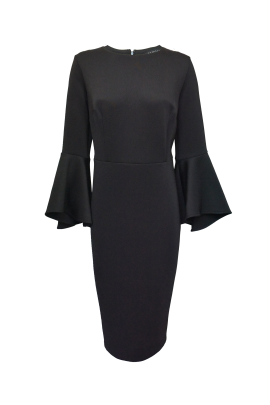 Black Flare Sleeve Dress/VILNIUS-0