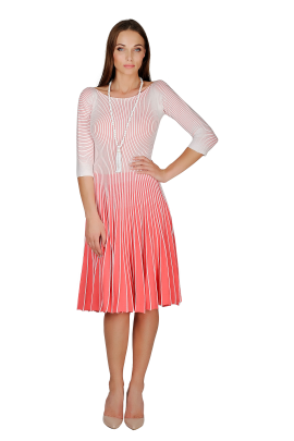White-coral Knitted Dress-0
