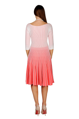 White-coral Knitted Dress-2
