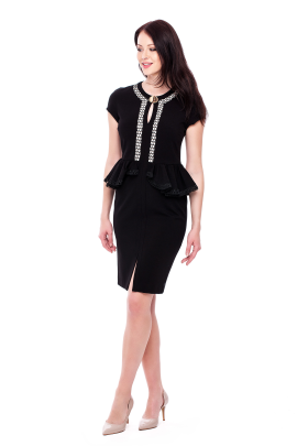 Ornamented Peplum Dress-0