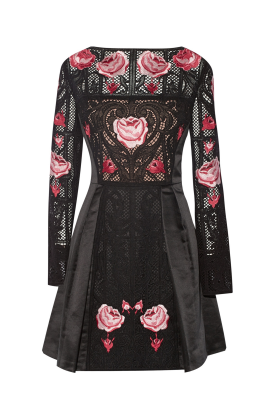 Embroidered Black Silk Dress-3