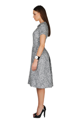 Grey Wool Ornamented Dress-1