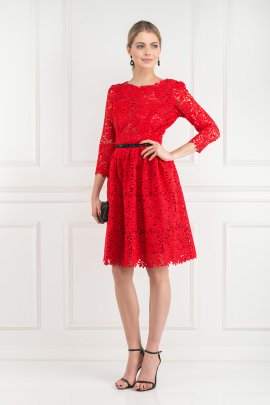 Red Spring Flower Dress-0