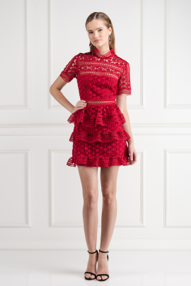 Red Star Lace Dress -0