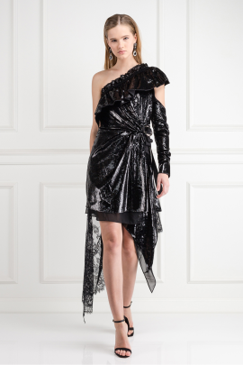 Metallic Velvet Wrap Dress -0