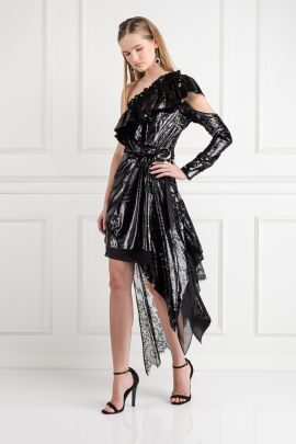 Metallic Velvet Wrap Dress -1