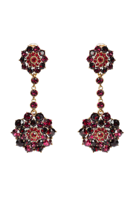 Gold-tone Red Crystal Clips / VILNIUS-0