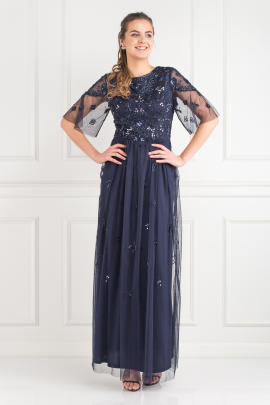 Navy Embellished Maxi Dress-1