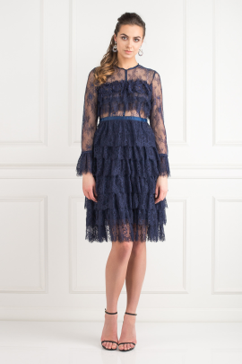 a43304a264877c Navy Ruffle Midi Dress-0 ...