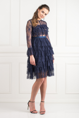 Navy Ruffle Midi Dress -1