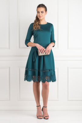 Pine Green Lace Insert Dress-0