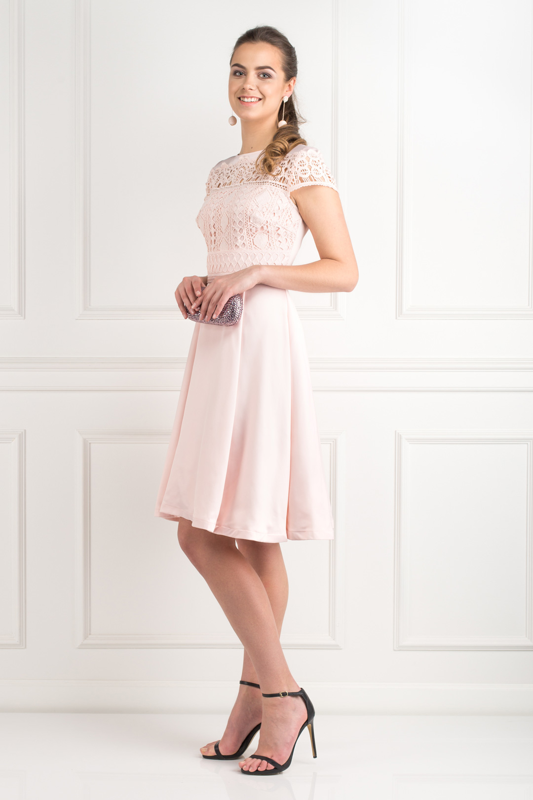 Pink Lace Upper Dress