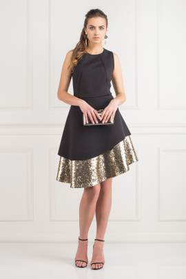 Sequin Bonded Pique Dress-0