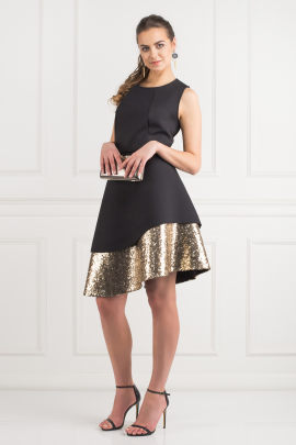 Sequin Bonded Pique Dress -1