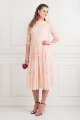 Tiered Sheer Tulle Dress -0