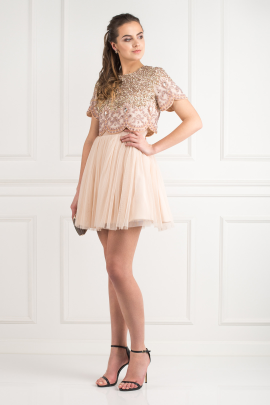 Tulle Mini Prom Dress-0