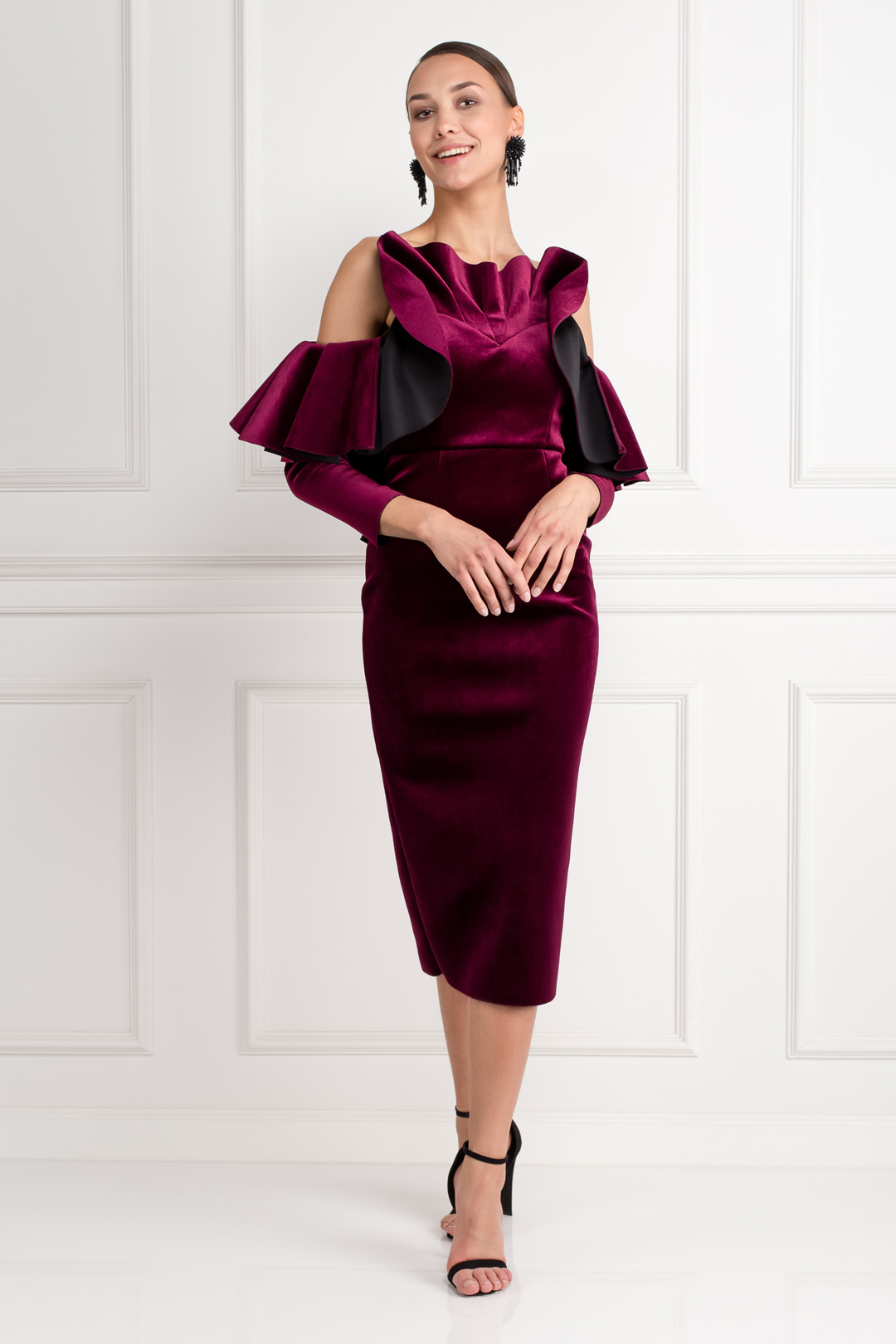 Velvet Ruffle Midi Dress