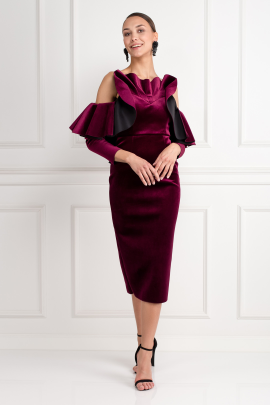 Velvet Ruffle Midi Dress-0
