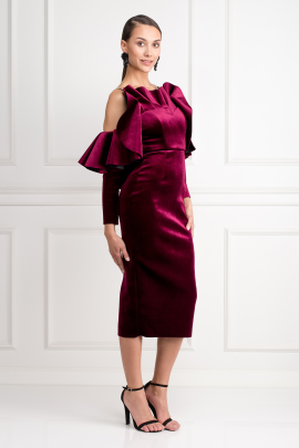Velvet Ruffle Midi Dress-1
