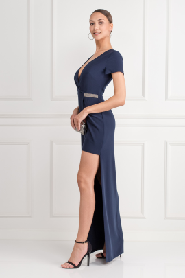 Asymmetric Crepe Navy Wrap Gown-1