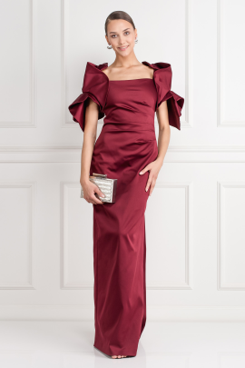 Ruffled Satin Gown-0