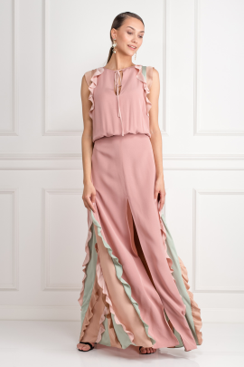 Ruffle-Trimmed Maxi Dress-0