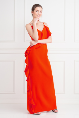 Dark Coral Crepe Gown-1