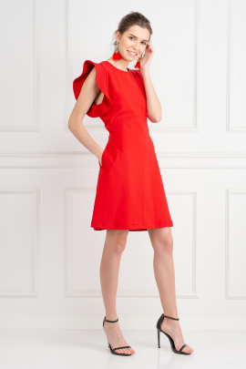 Red Ruffled Crepe Mini Dress-1