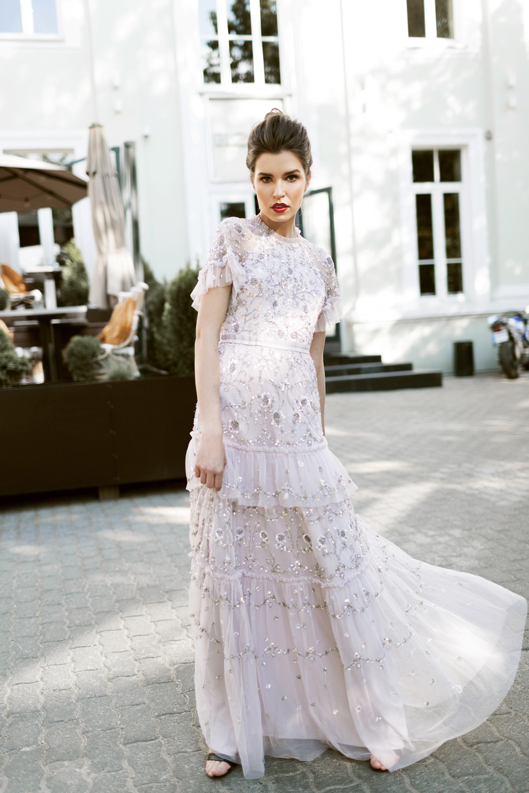 Constellation Embellished Tulle Gown