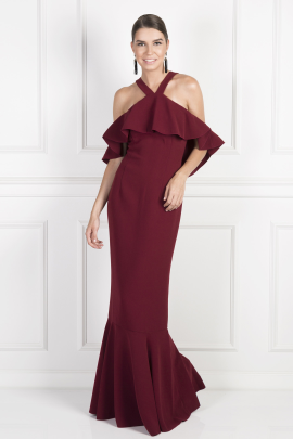 Burgundy Cold Shoulder Ruffle Gown-0