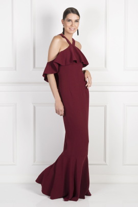 Burgundy Cold Shoulder Ruffle Gown-1