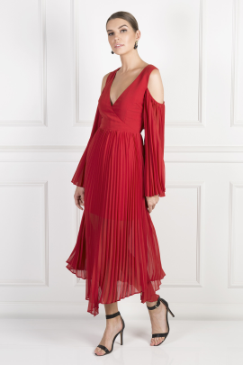 Red Pleated Midi Dress-1